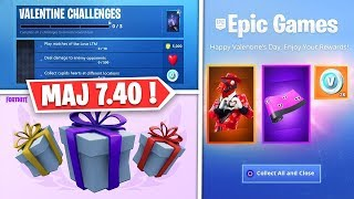 "SKINS SAISON 8 FREE, CADEAUX - DEFIEs ""SAINT VALENTIN"" ON FORTNITE! (7.40)"