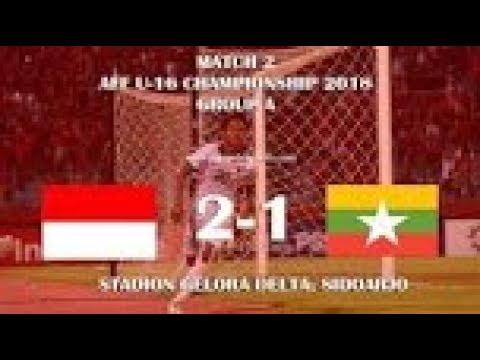 Indonesia u16 vs Myanmar u16 2 1 FULL Highlights All Goals   AFF cup u16 2018