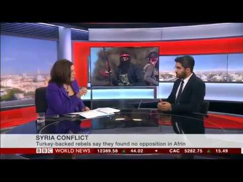 """BBC World News - Interview with Guney Yildiz """"Turkish offensive into Afrin town centre"""""""