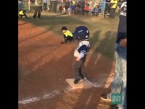 Little Kid Busts A Move On First Base