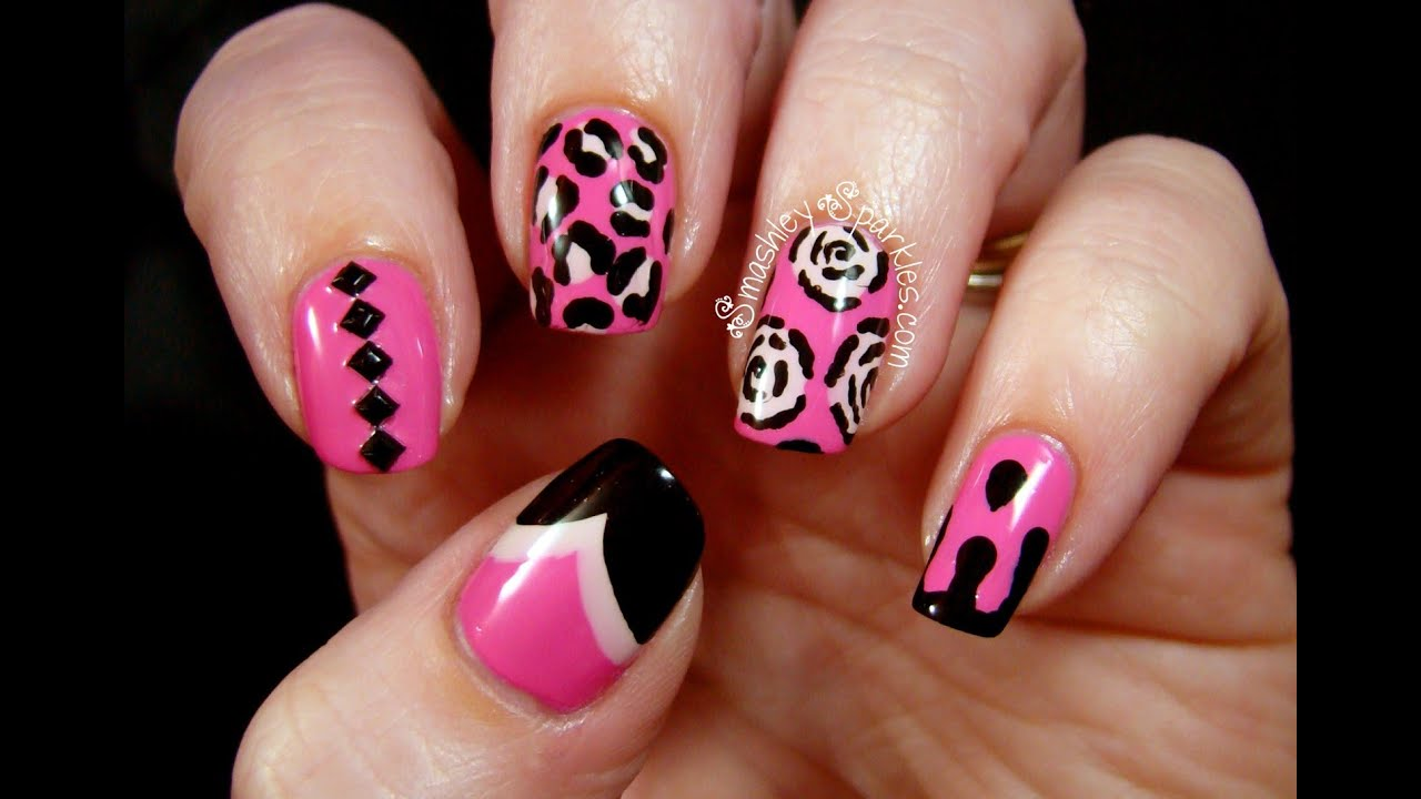 Pink black and white nails art design youtube prinsesfo Gallery