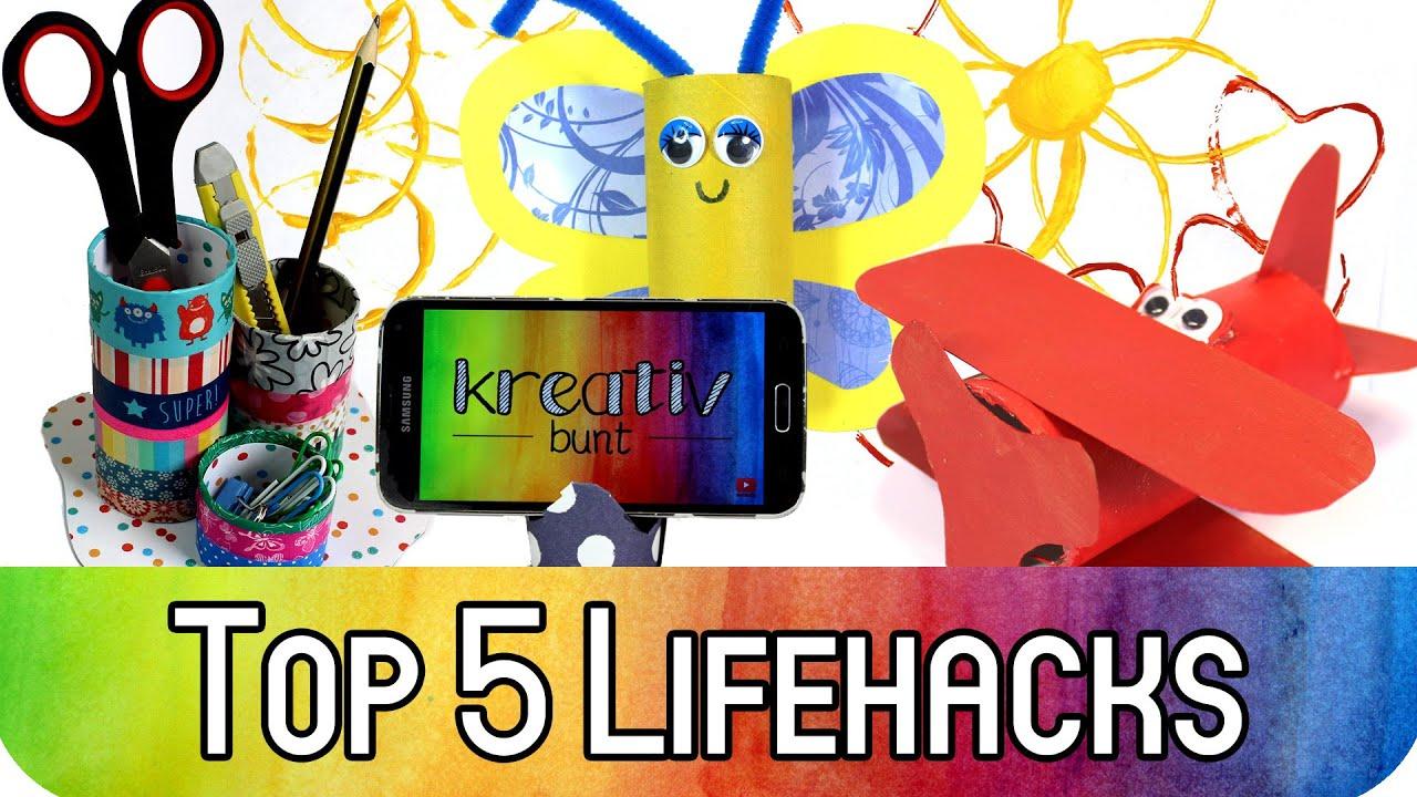top 5 lifehacks mit klopapierrollen how to upcycling mit klorollen kreativbunt youtube. Black Bedroom Furniture Sets. Home Design Ideas