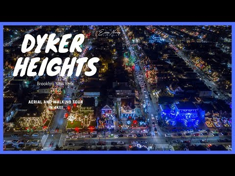 Dyker Heights Brooklyn Christmas Lights 2018 Drone and Walking Tour in 4K