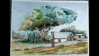 WATERCOLOR TECHNIQUE FOR BEGINNERS/ EASY WATER COLOR/LANDSCAPE DRAWING