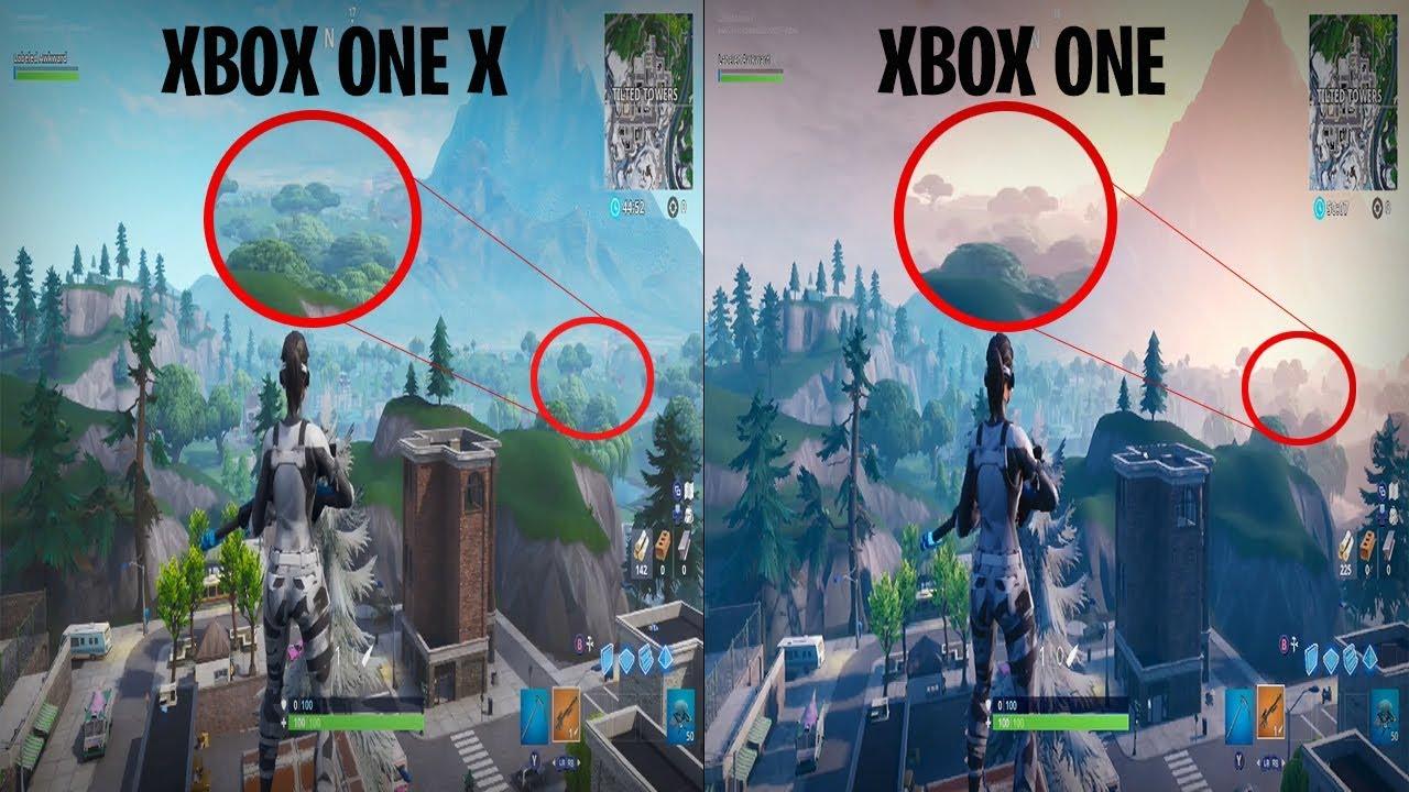 xbox one x vs xbox one comparison on fortnite 2020  youtube