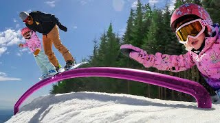 SNOWBOARD with Adley & Dad!! Learn Snowboarding with us at a Ski Resort! winter snow shred routine