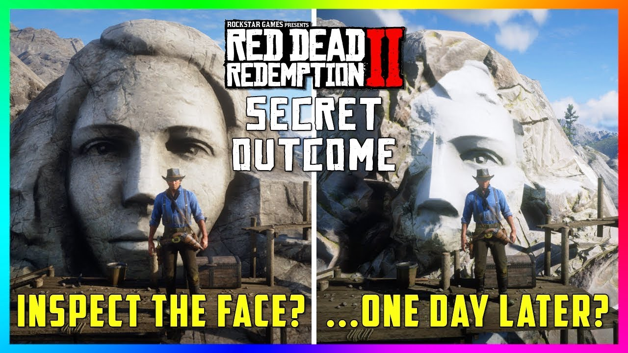 if you do this at the giant face on the cliff something spooky will happen in red dead redemption 2