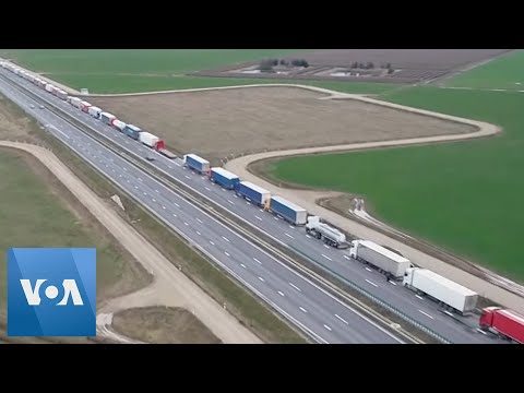 Border Closures Create Massive Line Of Trucks In Poland
