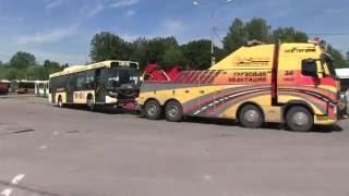 Грузовой эвакуатор  Эвакуация автобуса