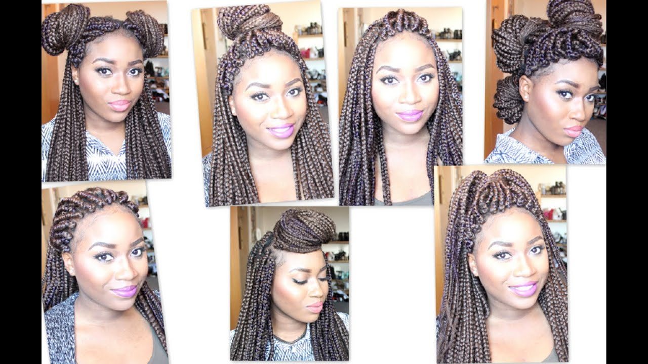 How to style: Heavy Box Braids, 7 styles for 7 days - YouTube