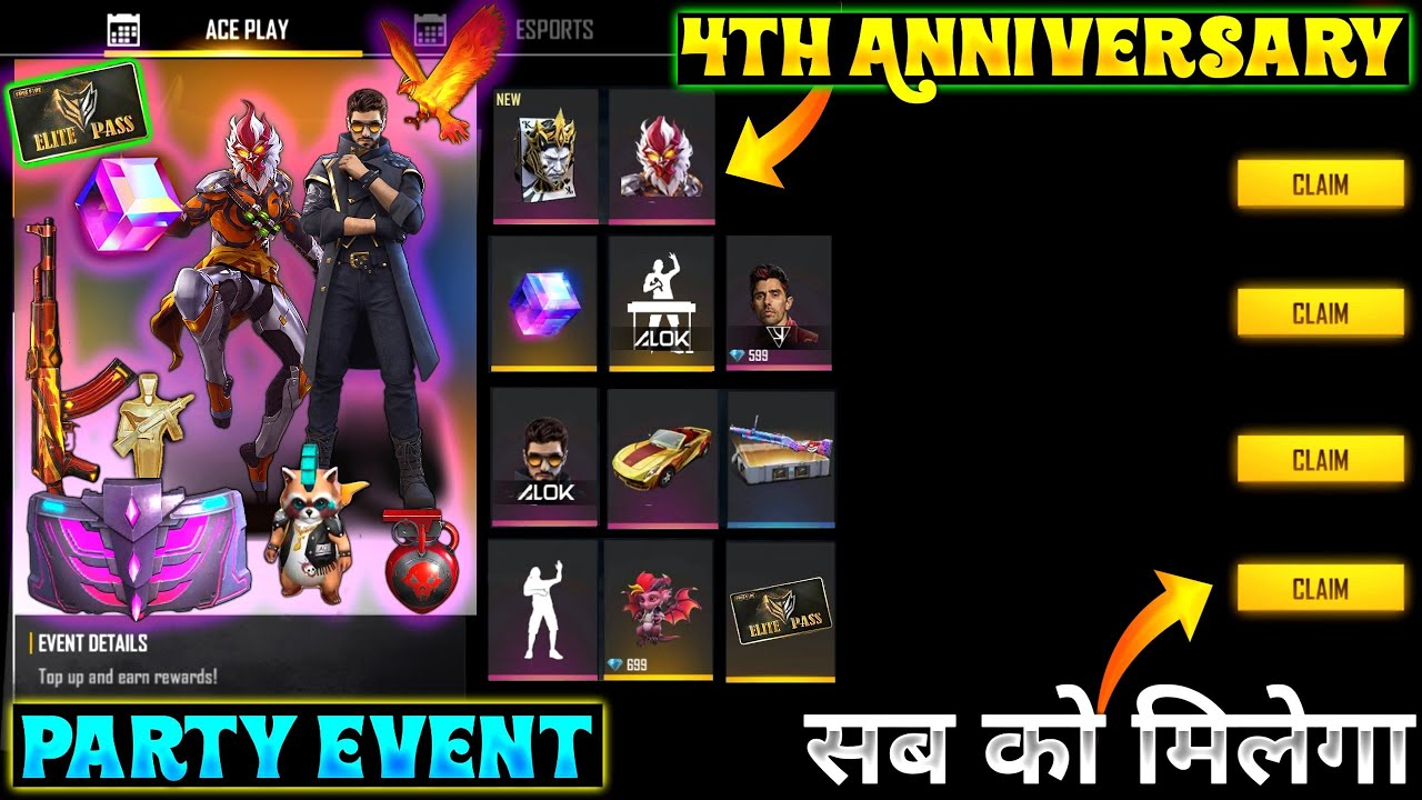 Free Fire 4th ANNIVERSARY PARTY Event | FREE FIRE 2 AUGUST EVENT 🔥