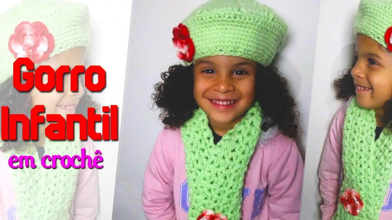 Gorro INFANTIL em Crochê - YouTube 1e35dd36370
