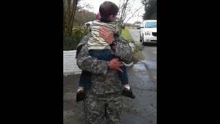 Richard surprising Blaise when returning from Iraq