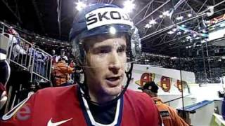 Roman Cervenka after 2nd period in a bronze medal game against Russia