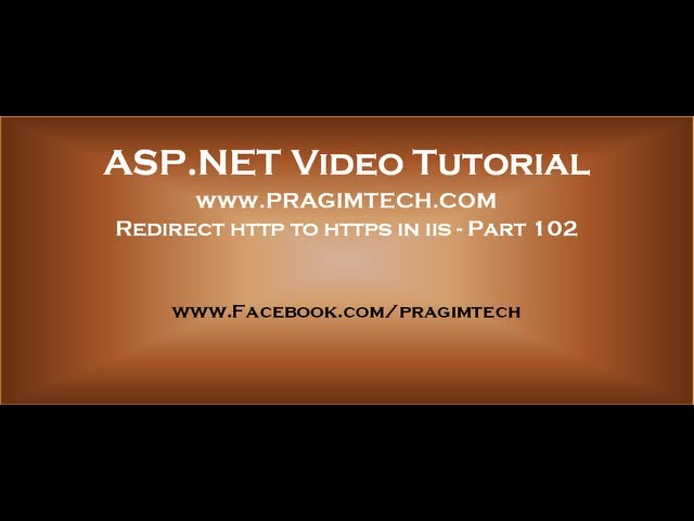 Redirect http to https in iis   Part 102