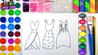Coloring Page of Beautiful Dresses to Color with Watercolor for Children to Learn Colors 2