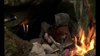 The Cave - 3 dąys solo bushcraft, camping in natural shelter, old school skills, minimal gear.