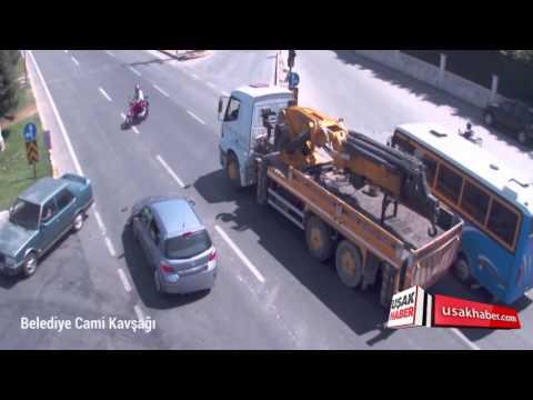 Uşak'taki Trafik Kazaları Mobese Kameraları Tarafından Kaydedildi