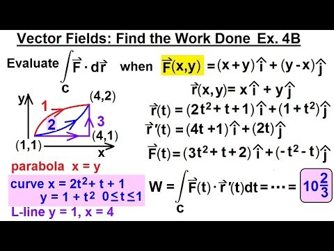 Calculus 3: Line Integrals (23 of 44) Vector Field: Find the Work Done: Ex. 4B