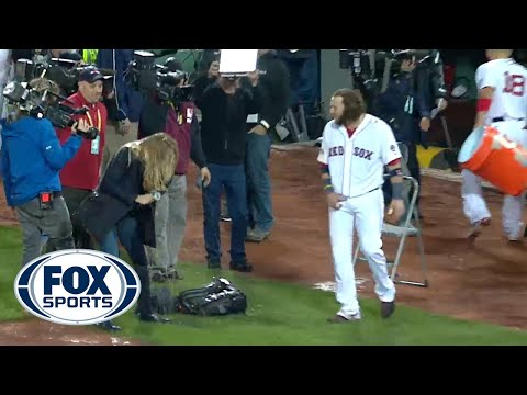 Erin Andrews gets Gatorade bath during Red Sox interview