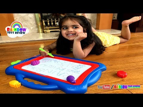 Great Magnetic Drawing Board for Kids Baby Learn ABC Colors Magic Stamps Writing Board for Children