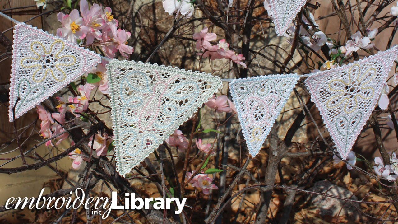 embroidering battenburg lace bunting youtube