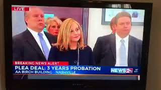 Disgraced Nashville Mayor Megan Barry staring down the D.A. as she leaves the hearing