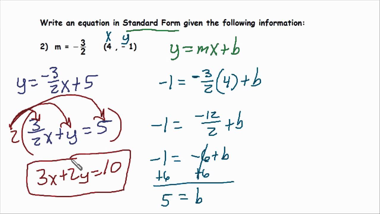 Writing linear equations in proper standard form youtube writing linear equations in proper standard form falaconquin
