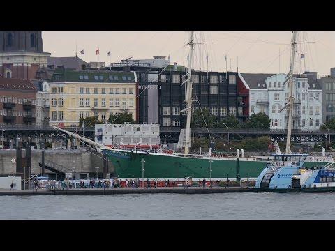 "Hamburg, Germany: Harbor, ""Rickmer Rickmers"", Landing Stages - 4K UHD Video Image"