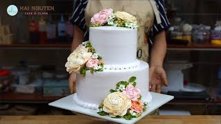HOW TO TIER BEAUTIFUL FLOWERS CAKE | Cách Xếp Bánh Hoa Hai Tầng Đẹp Với Hoa Kem Tươi