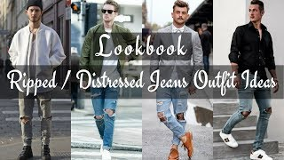 Top Best Ripped Jeans / Distressed Denim Outfit Ideas for Men