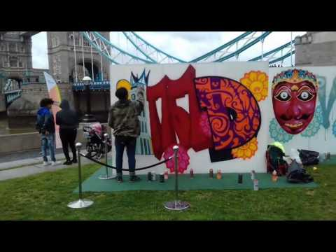 Bujangan Urban (Indonesia graffiti artist) at Potters Field, Tower Bridge.