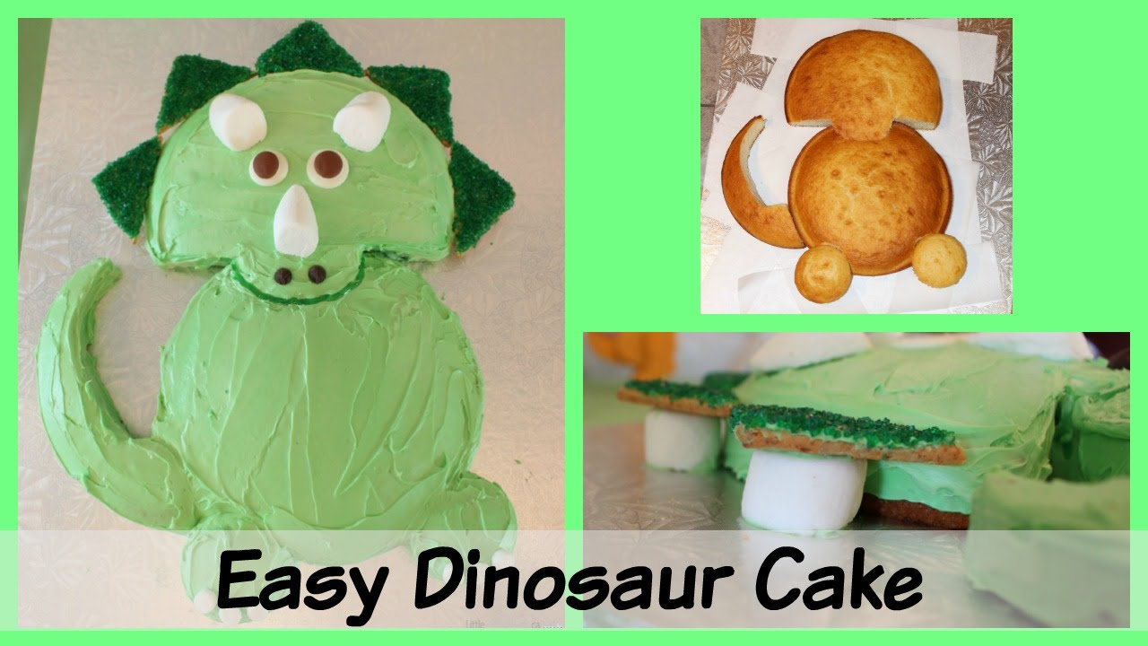 Easy triceratops dinosaur birthday cake youtube for How to make a dinosaur cake template