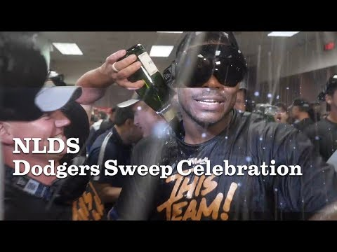 Dodgers celebrate sweeping the Diamondbacks in the NLDS | Los Angeles Times