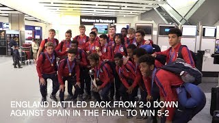 England's Under-17 World Cup winning squad arrive home after winnin...