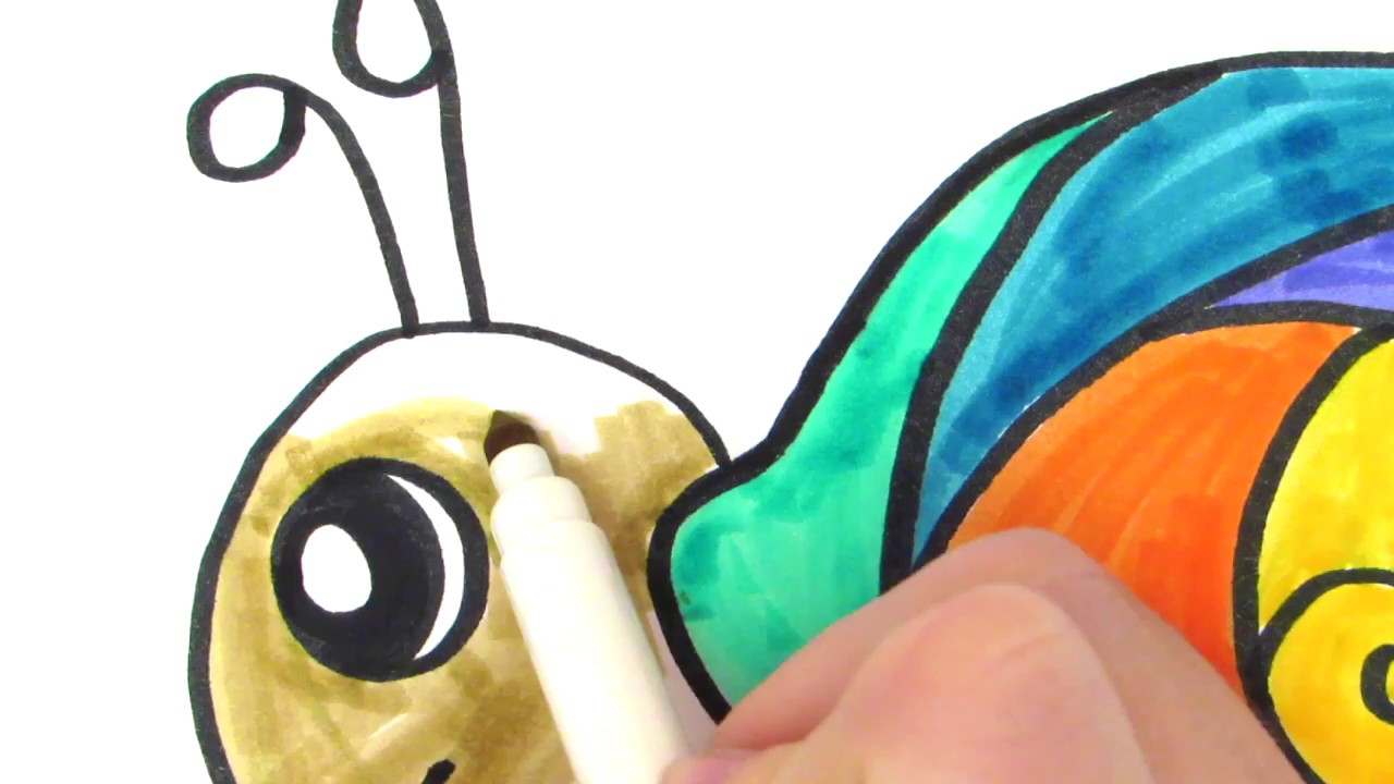 how to draw a cute rainbow snail teach drawing for kids and