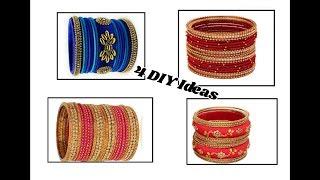 4 DIY Ideas of bridal Bangle Set | silk thread bangle set