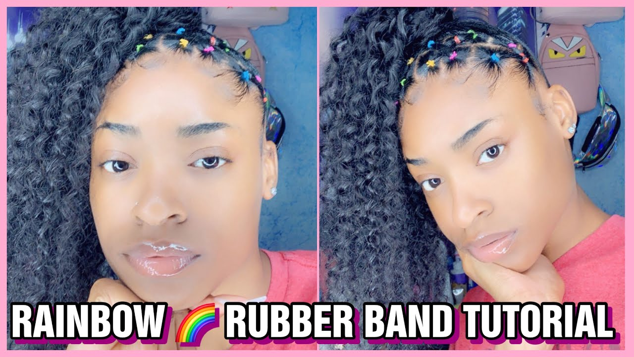 RAINBOW RUBBER BAND CURLY PONYTAIL TUTORIAL 🌈 - YouTube