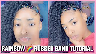 RAINBOW RUBBER BAND CURLY PONYTAIL TUTORIAL 🌈
