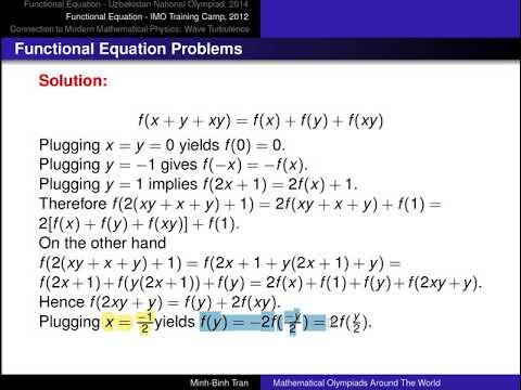 Functional Equation Problems - Two olympiad problems and the connection  with modern math physics