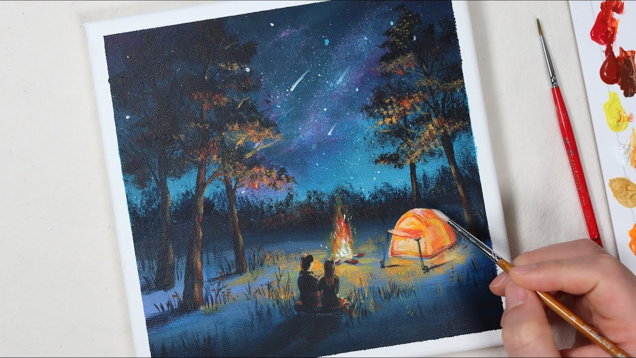 Camping in the night / Easy acrylic painting for beginners ...