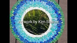 Mosaic Round mirror, using Inka Gold