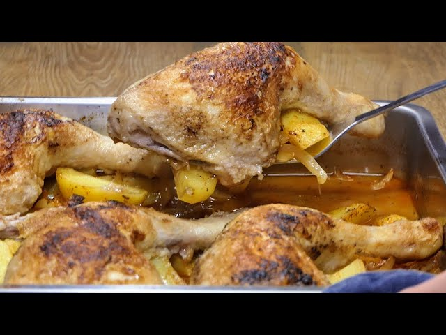 Супер сочни печени пилешки бутчета с ароматни картофи. Много лесни за приготвяне