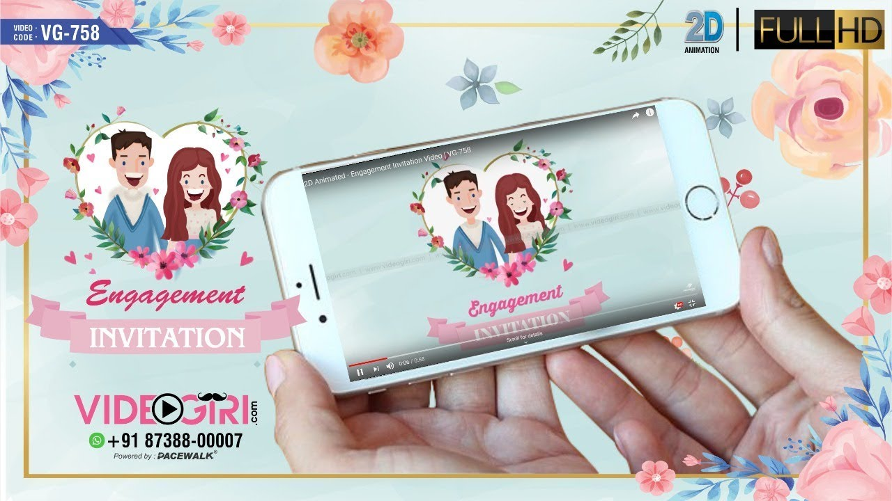 2d Animated Engagement Invitation Video Vg 758
