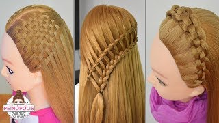 3 Hairstyles with Braids Ladder, Mat or Tape and Pasacinta Easy and Quick to Make