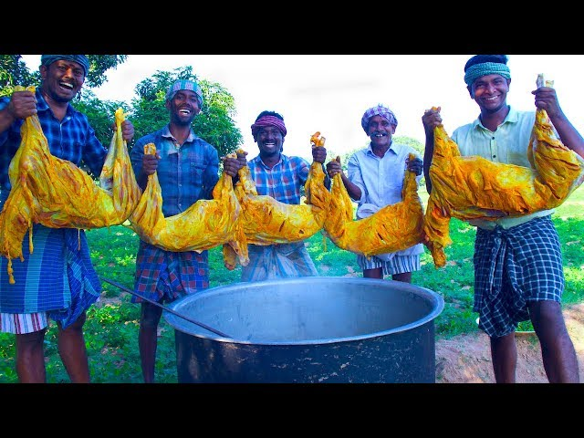 5 FULL GOAT COOKING | Traditional Mutton Recipe Cooking in Village | Tasty Full Goat Mutton Kulambu