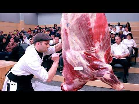 Incredible modern pork & beef processing technology. Amazing workers cutting meat machine skills