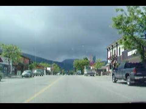 Driving downtown Nakusp BC Canada