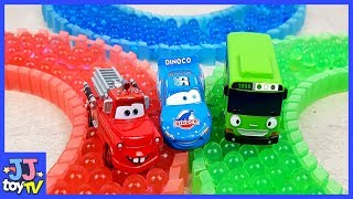 Little Bus Tayo & Disney Cars Lightning Mcqeen Play With Color Orbeez Toys [Jjtoy Tv]
