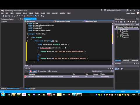 C# Tutorial - How To Validate An E-mail Address